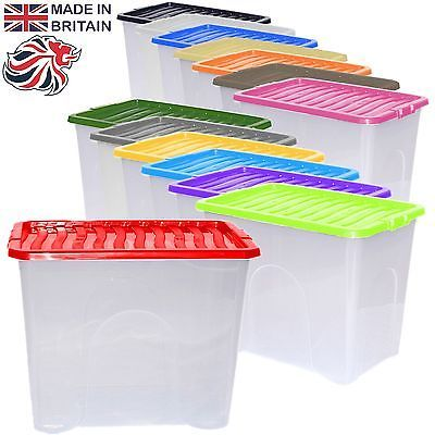 2 x 80l 80 litre large #plastic storage clear box #stack container + #colour lid,  View more on the LINK: 	http://www.zeppy.io/product/gb/2/301897121174/