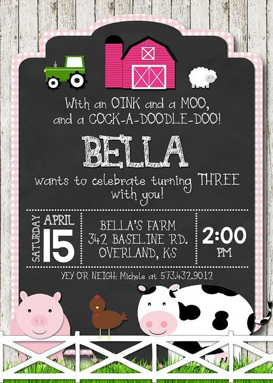 Farm Birthday Invitation Girl Birthday Personalized With Your