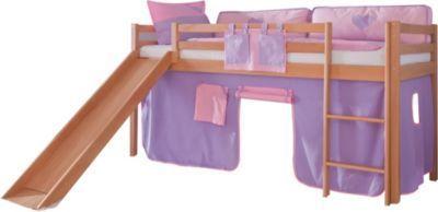Relita Hochbett Toby Buche Massiv mit Rutsche + Stoffset purple/rosa Jetzt bestellen unter: https://moebel.ladendirekt.de/kinderzimmer/betten/hochbetten/?uid=edc6067d-f4ef-5143-bb0e-e00cd9c8d119&utm_source=pinterest&utm_medium=pin&utm_campaign=boards #kinderzimmer #kleinkindmöbel #hochbetten #betten