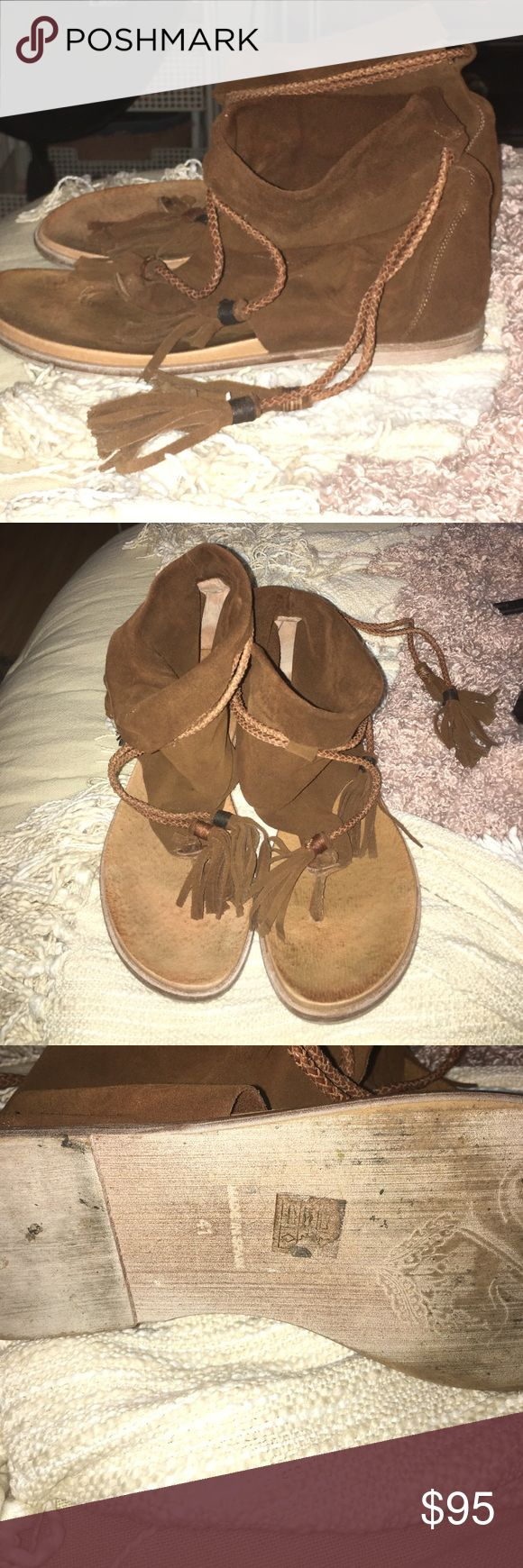 Free People Harlow Sandal Size 41 (10.5) Free People's Harlow Boot Sandal in brown rust Free People Shoes Sandals