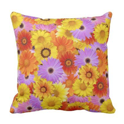 sunflower flower print Polyester Throw Pillow - home gifts ideas decor special unique custom individual customized individualized