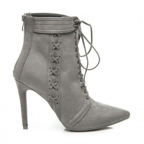 Dámské boty na podpatku Krozbeny šedé - černá