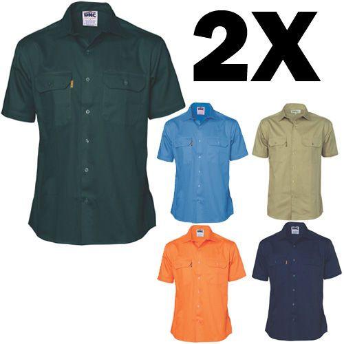 2X-3201-DNC-Cotton-Drill-Work-Shirt-Short-Sleeve-Brand-New-Clothes-Work-Wear