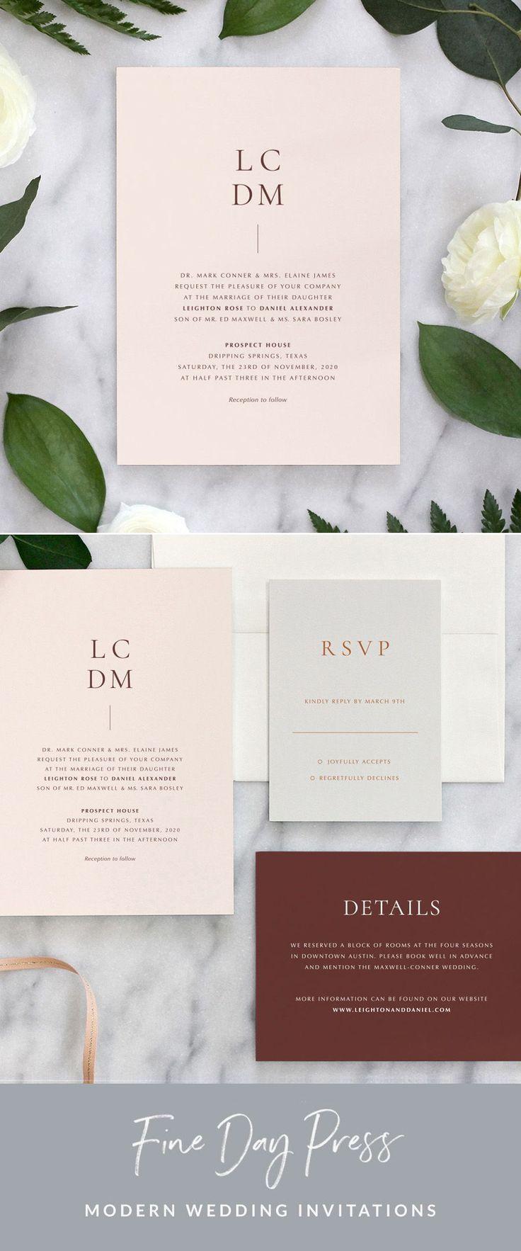 Artisan Wedding Invitation Fine Day Press In 2020 Modern Wedding Invitations Minimalist Wedding Invitations Wedding Invitations