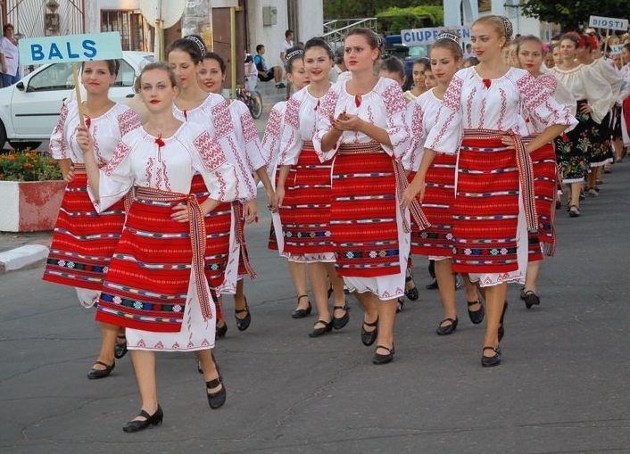 Europe, Romania, Traditional Romanian dress from Bals region.