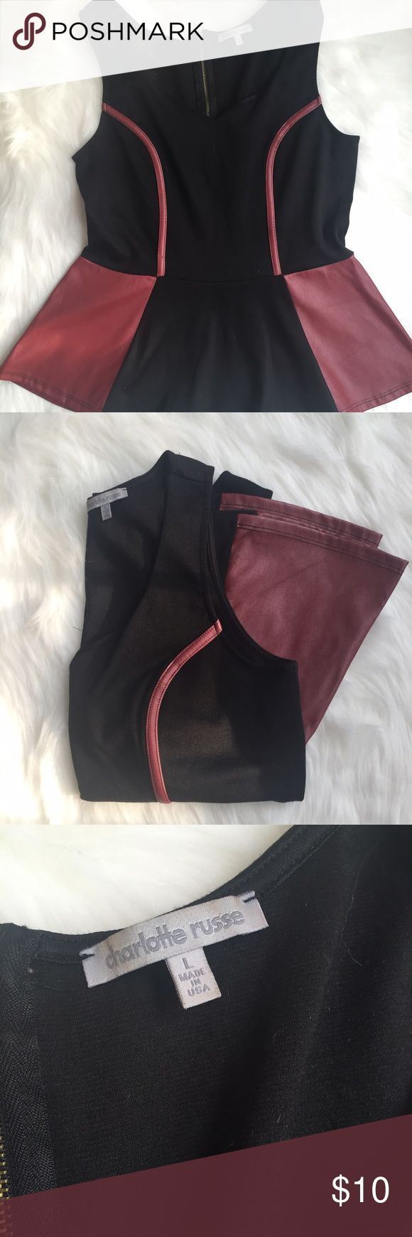 Black and Red Peplum Top w/ faux leather details Black and red peplum top with faux leather details. Size L. Lightly worn. Charlotte Russe Tops Tank Tops