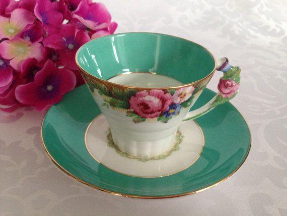 RARE Double Warrant Paragon with Floral Handle Tea Cup / Fine Bone English China / Vintage Tea Set