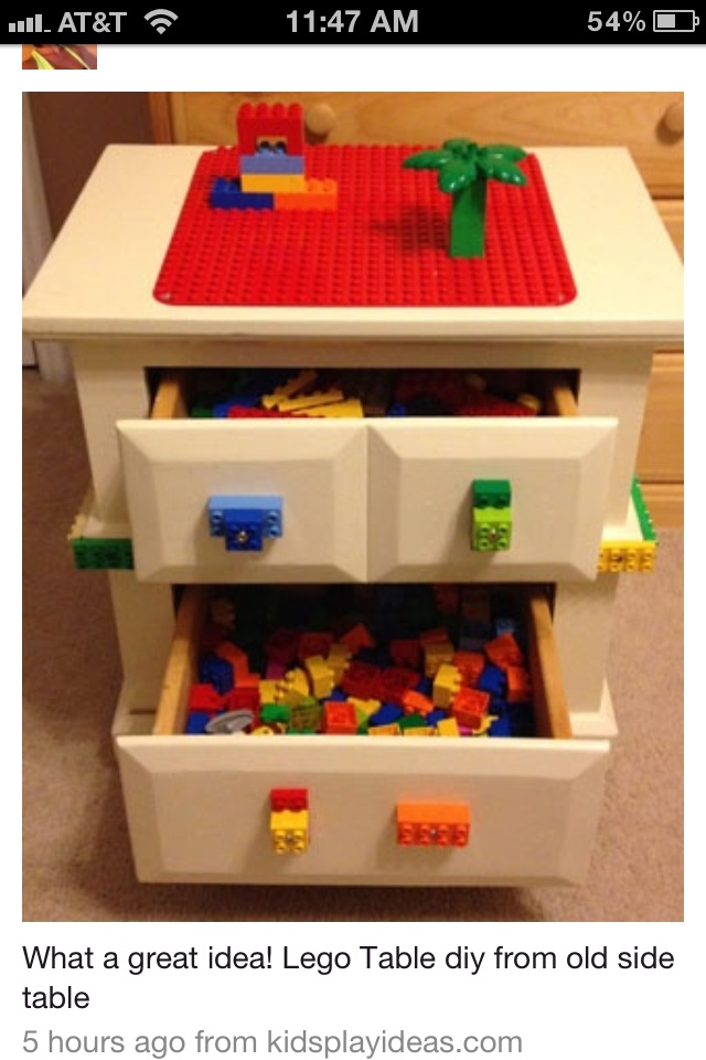 we can so do this when he moves up to legos make a lego table from an oldcheap night stand very clever love this idea when my kids were little