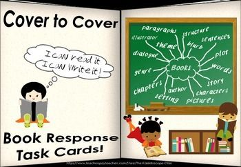 Cover to Cover ~ Book Response ~ 40 Task Cards (Grade 2-5). Can be used during routine reading and writing lessons, literacy centers, daily five or for early finishers.  Comes in color and B&W and US and Aus/NZ spelling.
