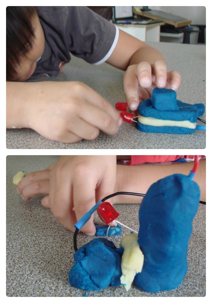 Kids Circuit Building with Playdough