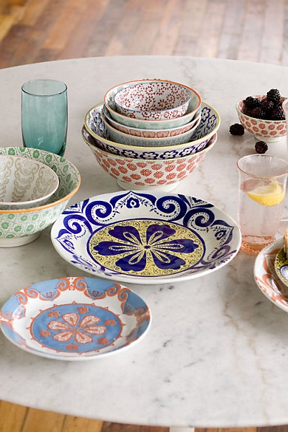 Atom Art Dishes (Anthropologie) - My white tabletop is screaming out for these colorful bowls.