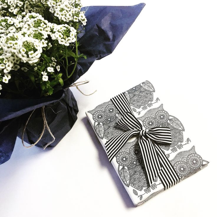 A wise choice for gift wrapping with lots of navy and white.