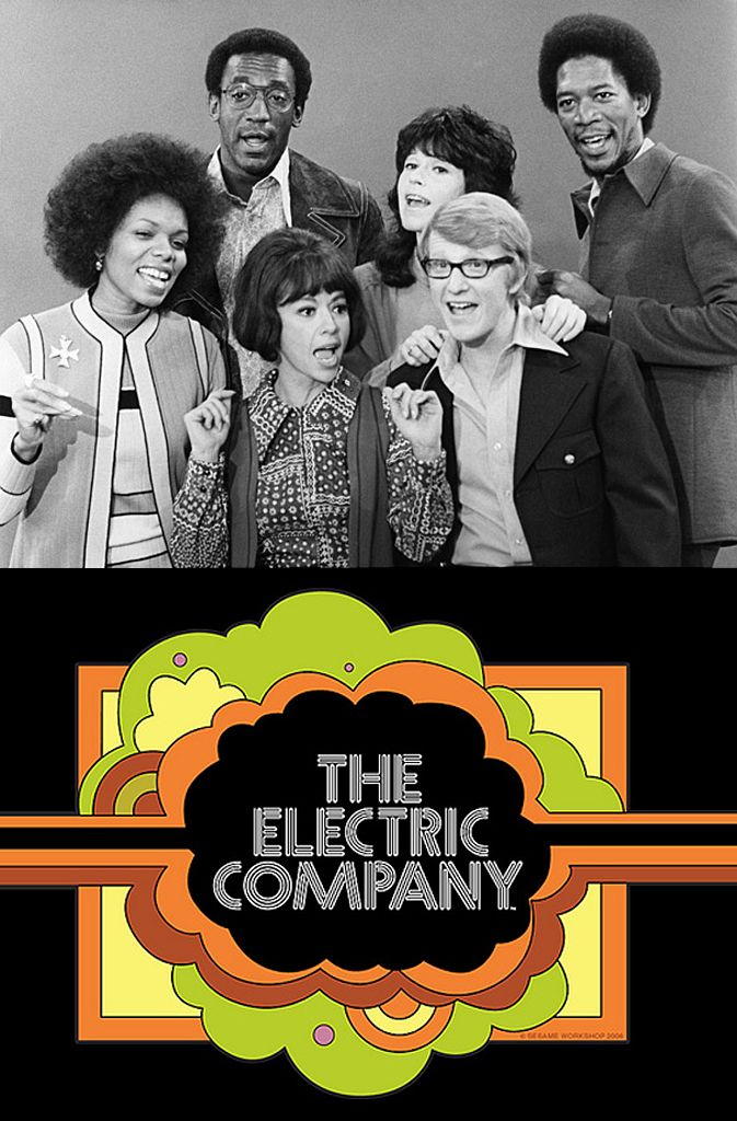 1971 Electric Company cast members: Lee Chamberlin, Bill Cosby, Rita Moreno, Judy Graubart, Skip Hinnant, & Morgan Freeman