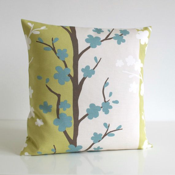 16x16 Cushion Cover, Scandinavian Cushion Cover, 16 Inch Pillow Case, Decorative Sofa Pillow, Throw Pillows - Nordic Blossom Pistachio