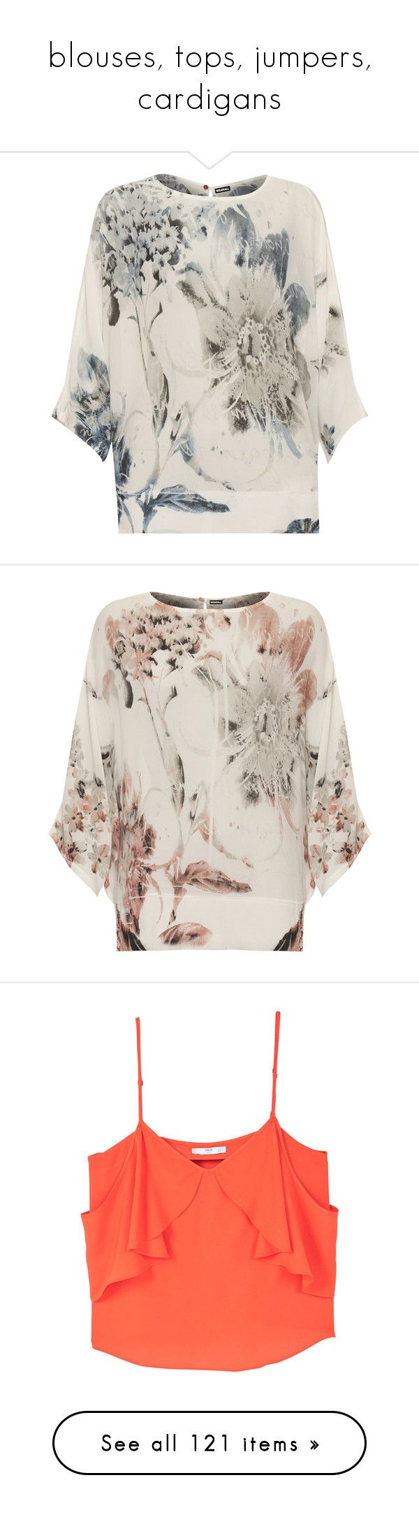 """""""blouses, tops, jumpers, cardigans"""" by julidrops ❤ liked on Polyvore featuring tops, grey, see through tops, sheer long sleeve top, chiffon tops, batwing tops, long sleeve batwing top, brown, sheer floral top and pink chiffon top"""