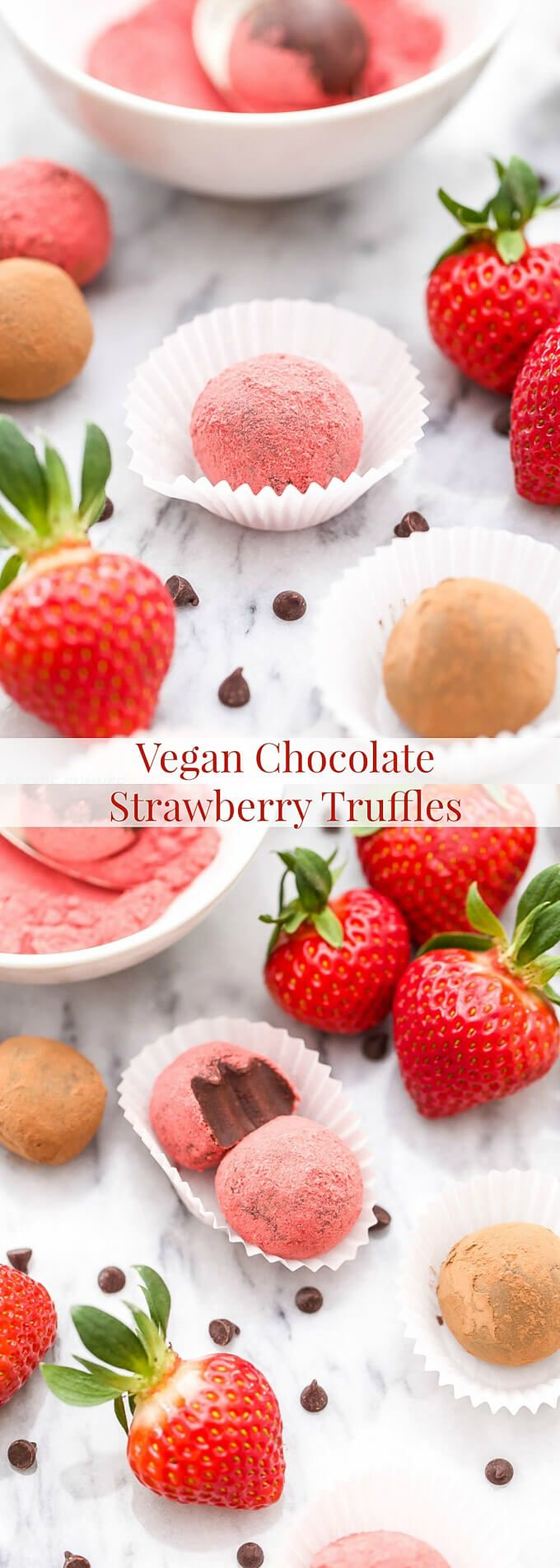 Four ingredients are all you need to make these easy Vegan Chocolate Strawberry Truffles! A wonderful balance of rich chocolate and sweet strawberries, perfect for Valentine's Day!