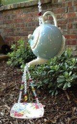 Victorian Rose Garden TEAPOT repurposed to birdfeeder