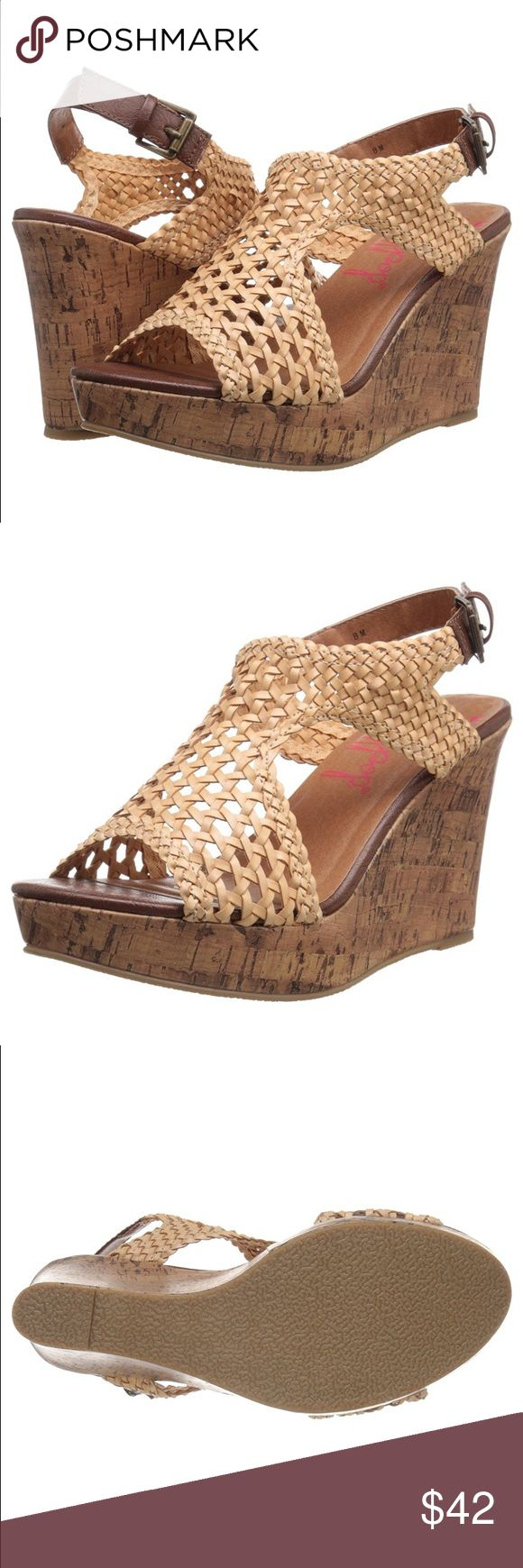 Women's Jellypop Wedge Sandal Woven upper wedge. Cross cross ankle strap. Faux cork wrap wedge Jellypop Shoes Wedges