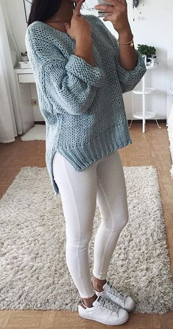 summer outfits  Grey Knit + White Leggings