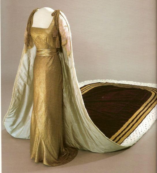 Gown and robe of Queen Maud of Norway for Coronation of George VI, 1937; dress by Worth, Paris, 1937