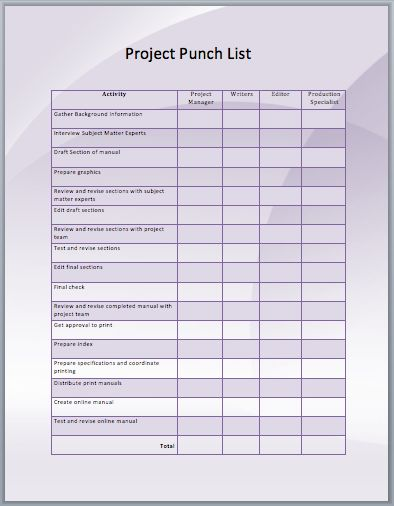 project punch list template