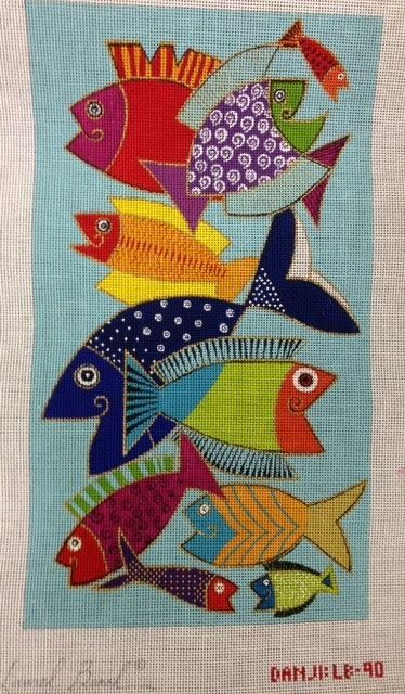 Fishies needlepoint mid-century modern canvas