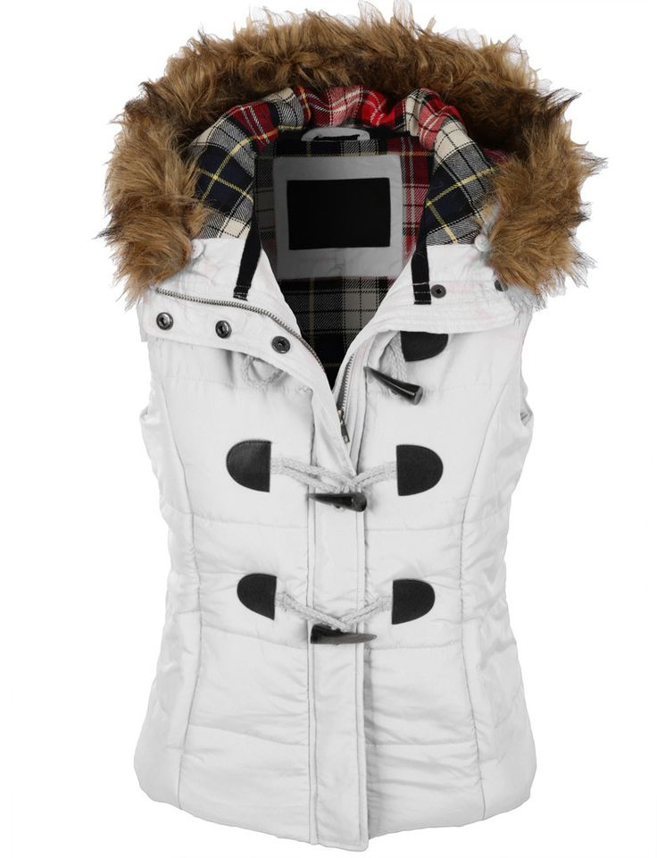 Womens Classic Toggle Padded Puffer Jacket Vest With Faux
