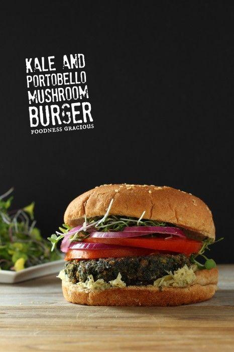 Kale and Portobello Mushroom burger: Mushrooms Burgers, Super Food, Veggies Burgers, Kale Burgers, Portobello Mushrooms, Mushrooms Kale, Healthy Veggies, Food Recipe, Healthy Kale