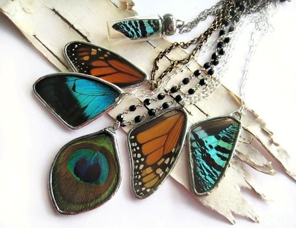 Gorgeous jewelry made from real butterfly wings (from conservation projects where they expired naturally) & peacock feathers. On sale at the Handmade Holiday Festival December 7 & 8, 2013 in upstreet Pittsfield! #Berkshires