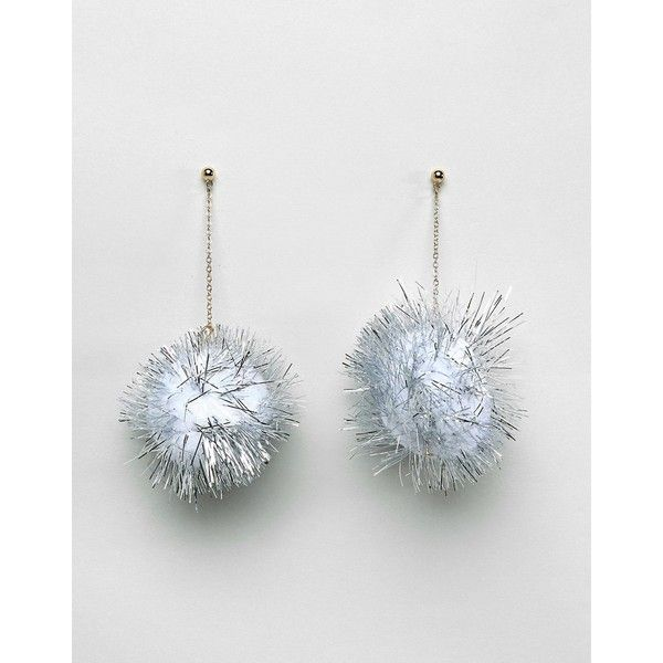 ASOS Christmas Glitter Pom Earrings ($9.21) ❤ liked on Polyvore featuring jewelry, earrings, silver, silver christmas earrings, christmas jewelry, chain jewelry, polish silver jewelry and prom earrings