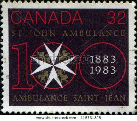 CANADA - CIRCA 1983: A stamp printed in Canada honoring St. John Ambulance Centenary, circa 1983 by IgorGolovniov, via Shutterstock