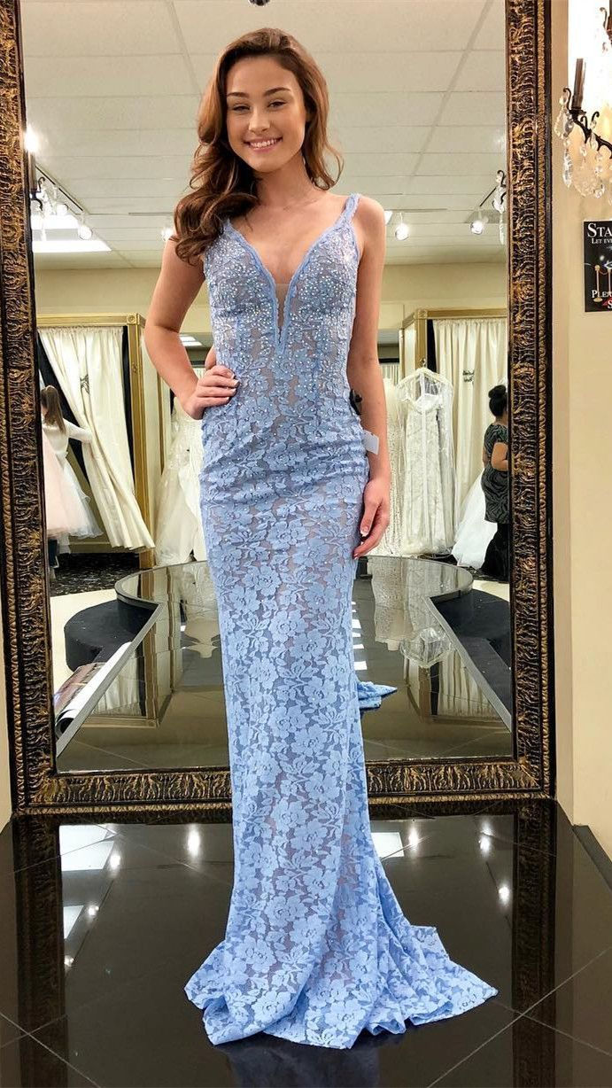 Gorgeous mermaid blue lace long prom dress evening dress dresses