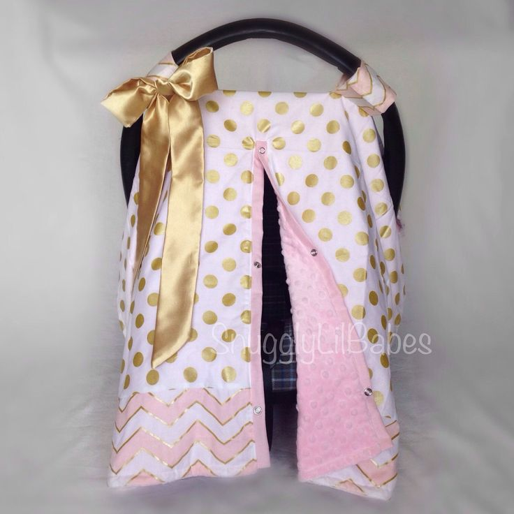 Pink, gold carseat cover, velcro straps with satin bow, baby pink minky dot car seat canopy by SnugglyLilBabes on Etsy https://www.etsy.com/listing/244992371/pink-gold-carseat-cover-velcro-straps