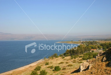 Sea of Galilee other names Lake Tiberius and Kinneret. The Eastern shore on a sunny morning in autumn.: Photo