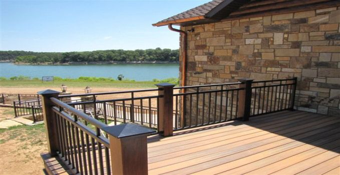 Wood deck black railings with wood posts google search for Wood deck privacy panels