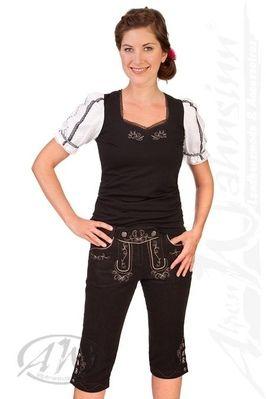 Spieth & Wensky Trachten Damen Leinen 3/4 Hose - NAUEN - schwarz