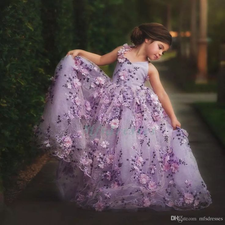 2017 Hot Sale Pretty Girls Prom Dresses Ball Gown Purple Lace Flowers Flower Girl Dresses Kids Evening Dress Orange Girls Pageant Dress Girls Dresses Size 7 Glitz Pageant Dress From Mfsdresses, $113.09| Dhgate.Com