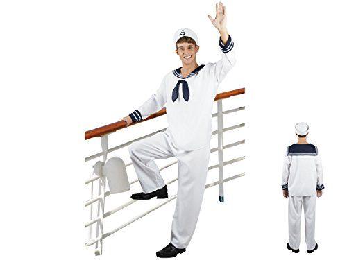 Déguisement complet de marin Homme adulte Comprend le haut bleu et blanc, le pantalon blanc et la casquette de marin Le pantalon est…