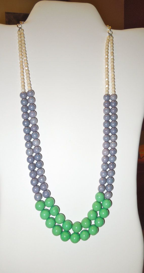 Jade Green Purple and Creme Color Block Necklace  by KRsKreations, $28.00