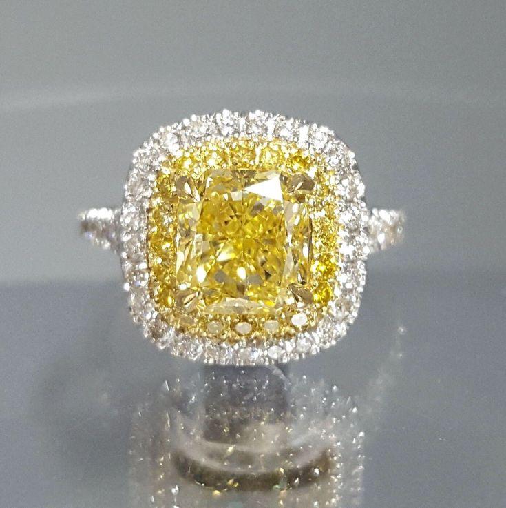 2.65 carat Cushion Cut Fancy Yellow Canary Diamond Halo Pave Engagement Ring by DiamondMarket on Etsy https://www.etsy.com/listing/505264912/265-carat-cushion-cut-fancy-yellow #bridalrings