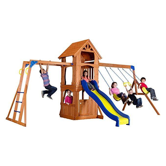 Backyard Discovery Parkway All Cedar Wood Playset Swing