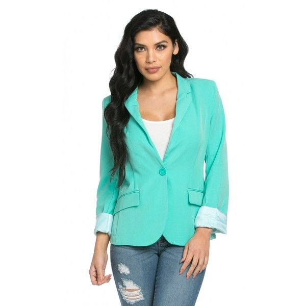 Single Button Solid Blazer in Mint (7.495 HUF) ❤ liked on Polyvore featuring outerwear, jackets, blazers, single button blazer, mint jacket, mint green jacket, blazer jacket and one button jacket