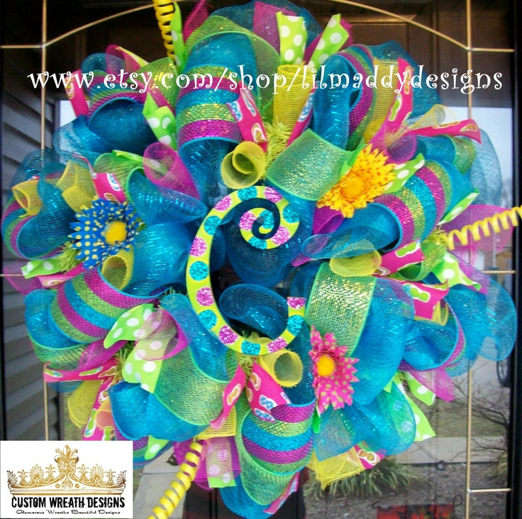 Turquoise Summer Wreath with letter of choice by lilmaddydesigns, $115.00