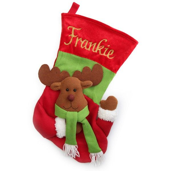 Personalised Stocking   3D Reindeer Christmas Stocking