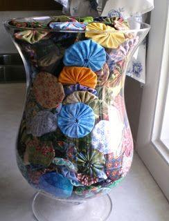 a pretty vase is a good way to display yo-yos.