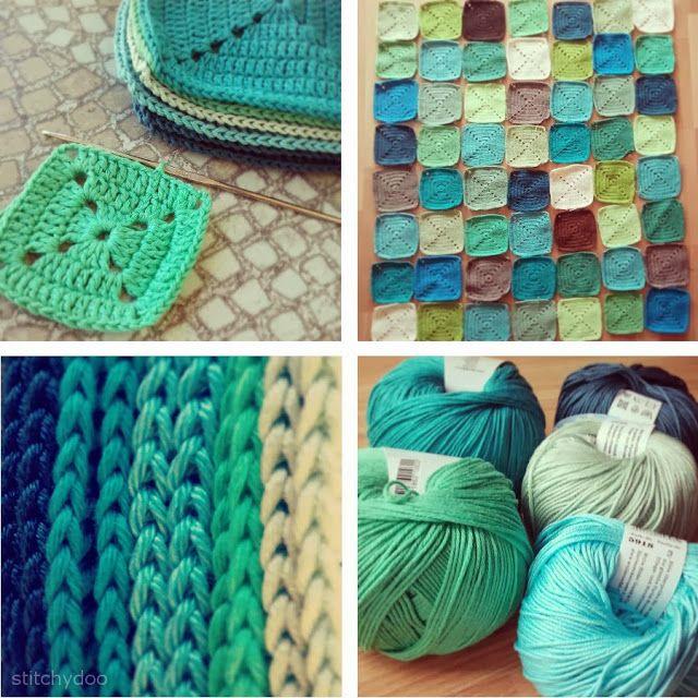 Projekt Häkeldecke   Der Zwischenstand // project crochet blanket - the progress // solid granny squares // by stitchydoo