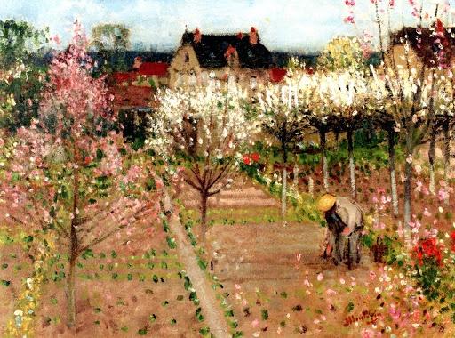 Pierre Eugene Montezin - The Gardener in the Garden at Veneux les Sablons