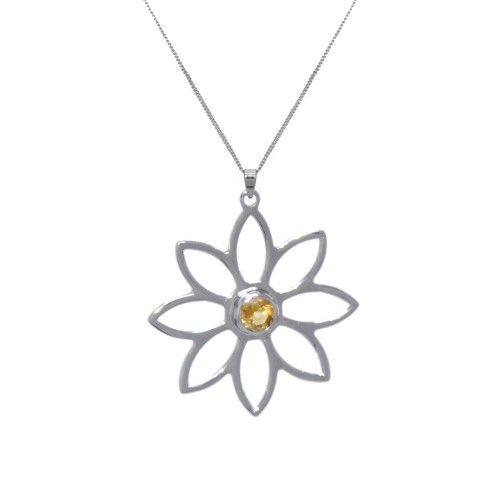 Namaqua Daisy Flower Necklace • Orange Citrine • Sterling Silver