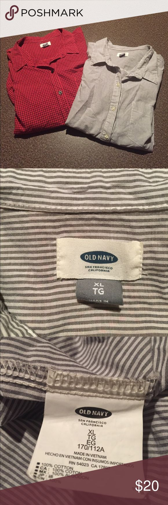 Lot of 2 Old Navy long sleeve tops Lot of 2 Old Navy long sleeve tops. Red and black plaid button up. Gray and white stripe 3/4 button down pullover. Front left pocket on both Old Navy Tops Button Down Shirts