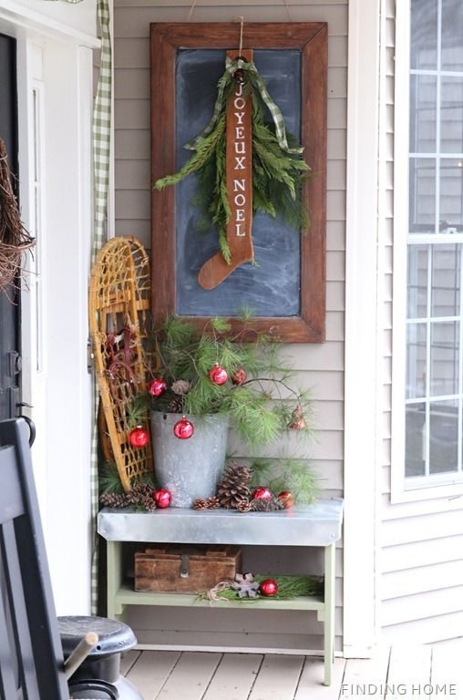 VintageChristmasPorchSign thumb Front Porch Christmas Decorating – Blogger Stylin' Home Tour
